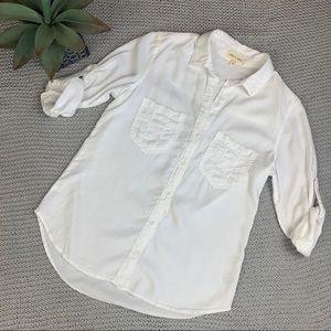 Cloth & Stone white tencel button up white shirt